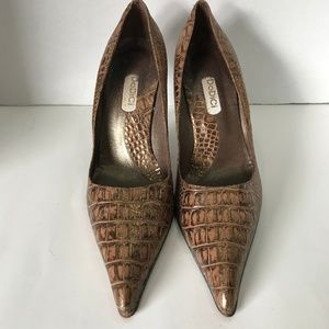 Dodici Gold Faux Leather High Heel Shoes